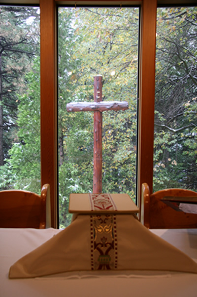 Before worship, after a snowfall, at St. Hugh's in Idyllwild, CA