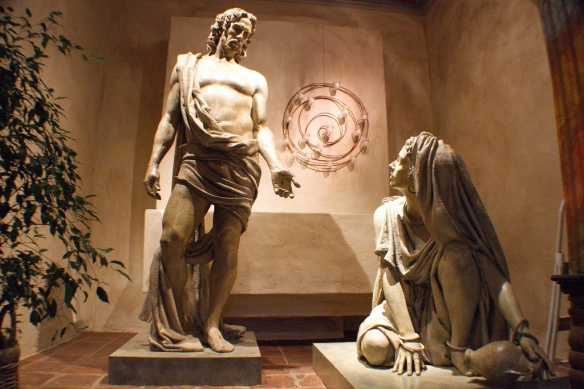 Jesus and Mary Magdalene by Bruce Wolfe in the Mission Santa Barbara