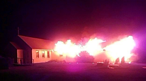 An image from the fire that destroyed St. James Episcopal Church in Cannon Ball, ND