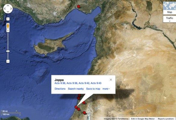 Preview Map from Bible Geocoding for Acts 9
