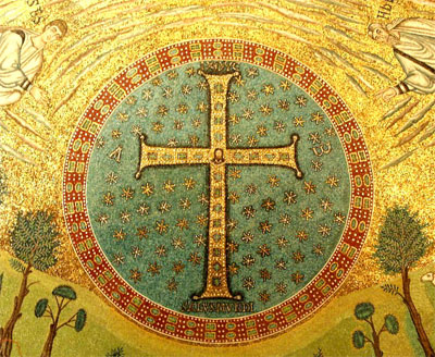 "Mosaic.""Transfiguration Cross"" in St Apolinare in Ravenna, Italy"